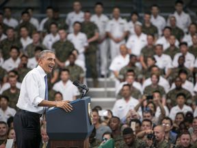 U.S. President Barack Obama gives a speech to the U.S. and Japanese servicemen and their families at the Marine Corps Air Station Iwakuni (MCAS Iwakuni) on May 27, 2016 in Iwakuni, Japan