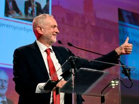 British Labour Party leader Jeremy Corbyn gestures as he speaks during a meeting of the Party of European Socialists (PES) in Brussels, on October 19, 2017 on the side of the first day of a summit of European Union (EU) leaders, set to rule out moving to full Brexit trade talks after negotiations stalled. / AFP PHOTO / JOHN THYS (Photo credit should read JOHN THYS/AFP/Getty Images)