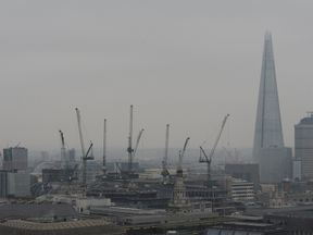 Smog over the London skyline in March 2015