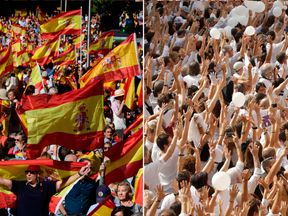 Thousands of people joined rival rallies for and against independence in Madrid (L) and Barcelona (R)