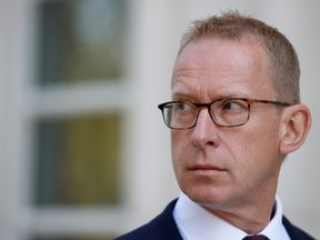 FILE PHOTO: Mark Johnson, a British citizen who at the time of his arrest was HSBC's global head of foreign exchange cash trading, exits following a hearing at the U.S. Federal Court in Brooklyn, New York, U.S. on August 29, 2016.
