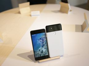 The new Pixel 2 and Pixel 2 XL smartphones at a product launch event