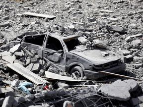 A vehicle destroyed by an air strike by coalition forces