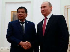 Rodrigo Duterte and Vladimir Putin during a meeting in Moscow in May