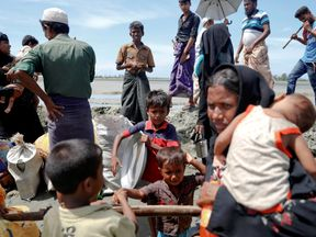 Rohingya refugees arrive in Bangladesh from Myanmar
