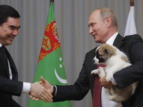 Vladimir Putin receives gift of an Alabai puppy from Turkmenistan's President Gurbanguly Berdimuhamedov