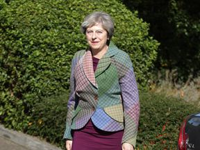 Prime Minister Theresa May arriving for a Macmillan Cancer charity event in Reading