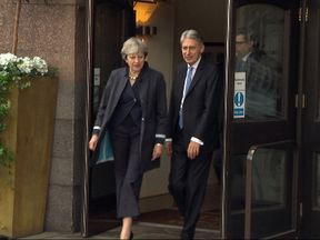 Theresa May and Philip Hammond leave hotel