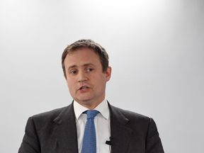 Tom Tugendhat MP speaks at the launch of a new bipartisan report titled The Cost of Doing Nothing, co-authored by the late Jo Cox MP, at the Policy Exchange in Westminster, London.