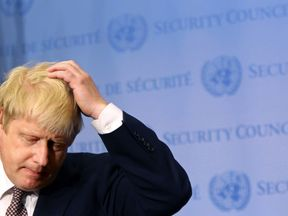 Foreign Secretary Boris Johnson gives a press conference in the Security Council Stakeout area of the United Nations Headquarters after meeting with United Nations Secretary-General Ban Ki-Moon (not seen) on July 22, 2016 in New York City
