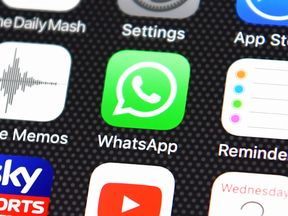 Popular Smart Phone Apps Of 2016 LONDON, ENGLAND - AUGUST 03: The Whatsapp app logo is displayed on an iPhone on August 3, 2016 in London, England. (Photo by Carl Court/Getty Images)