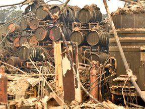Charred wine barrels at the Paradise Ridge Winery in Santa Rosa