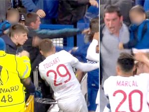 Everton to ban fan holding child who aimed 'punch' at Lyon player