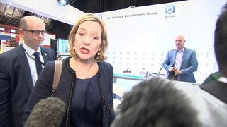 Home Secretary Amber Rudd is asked by reporters what she knows about a man who offered a P45 to Theresa May during her conference speech