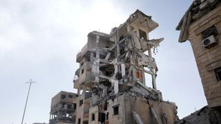 Houses destroyed by fighting between Syrian Democratic Forces and Islamic State militants