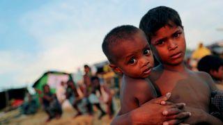 Rohingya refugee children at a refugee camp in Palang Khali near Cox's Bazar, Bangladesh