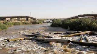 A bridge destroyed by an U.S. air strike in the outskirts east of Raqqa