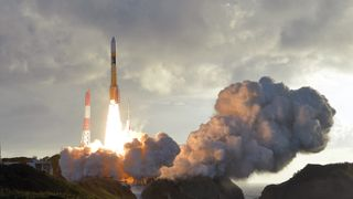 An H-2A rocket carrying Japan's fourth and final quasi-zenith satellite, the Michibiki No. 4, lifts off from the Tanegashima Space Centre in Japan
