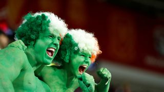 Republic of Ireland fans in fancy dress before the World Cup qualifying match against Wales in Cardiff