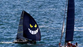 Sailing boats gather during the Barcolana regatta in front of Trieste harbour, Italy