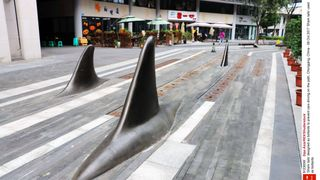 'Shark tails' designed as bollards to prevent cars driving on the path, Chongqing, China. Pic: Sipa Asia/REX/Shutterstock