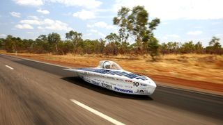 """Tokai"" from Japan races between Renner Springs and Tennants Creek in the Challenger Class of the 2017 Bridgestone World Solar Challenge in Australia"