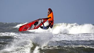 Philip Soltysiak of Canada competes in the men's free style during the Mercedes-Benz Windsurf World Cup Sylt in Westerland, Germany