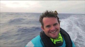Sailor has small bird sit on his head during Volvo Ocean Race