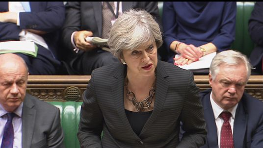 Theresa May addressing MPs in the Commons