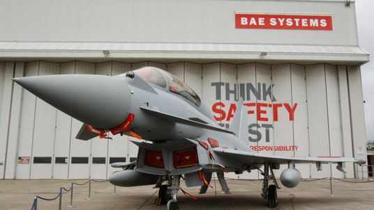A Eurofighter Typhoon at BAE Systems, Warton Aerodrome, Lancashire.