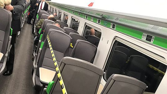 Seats were sectioned off due to the air conditioning leak on the Intercity Express train
