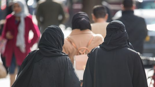A general view of two Muslim women in London.