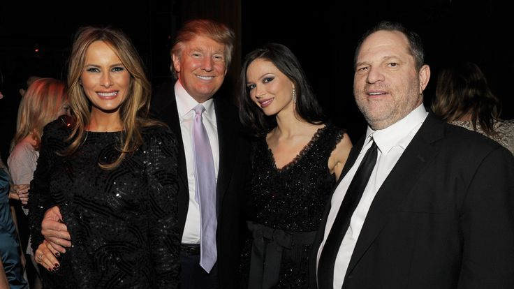 (L-R) Melania Trump, Donald Trump, Georgina Chapman and Harvey Weinstein