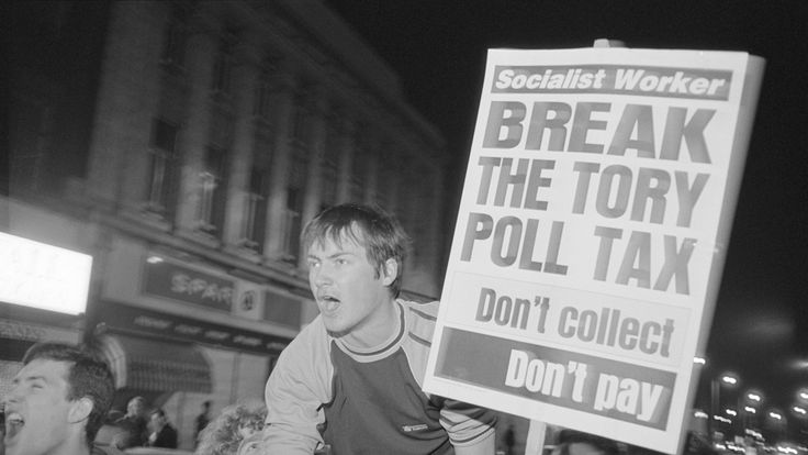 Protesters at a demonstration against the Poll Tax, Brixton, London, 29th March 1990