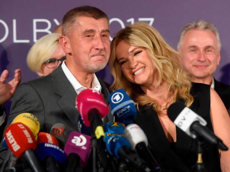 Andrej Babis celebrates with his wife Monika