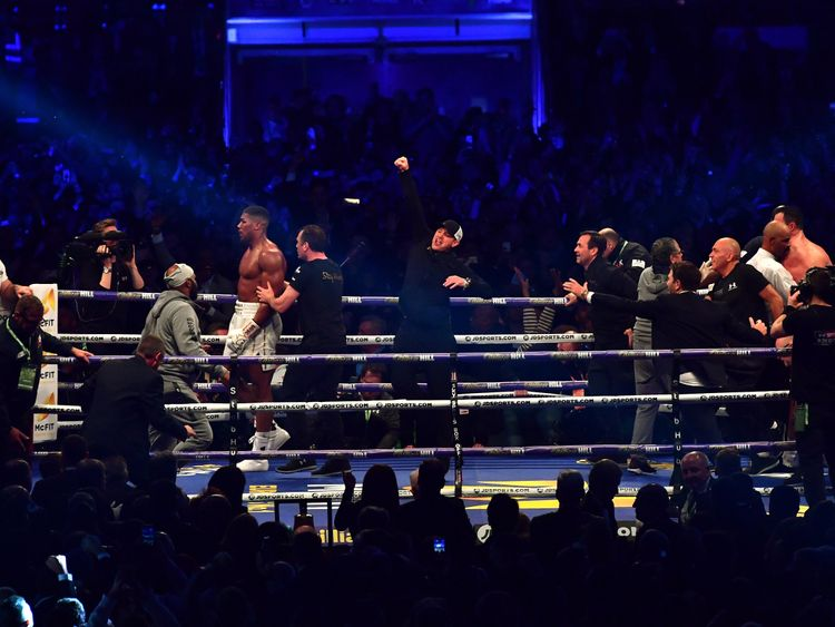 LONDON, ENGLAND - APRIL 29:  Anthony Joshua celebrates victory over Wladimir Klitschko in the IBF, WBA and IBO Heavyweight World Title bout   at Wembley St