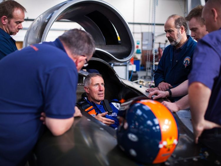 Bloodhound SSC with Wing Commander Andy Green in the driving seat. Pic Bloodhound SSC