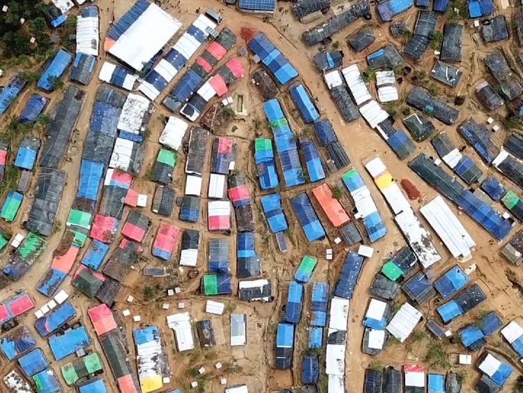 Kutupulong refugee camp, near Cox's Bazar, Bangladesh, is a mosaic of tarpaulin tents