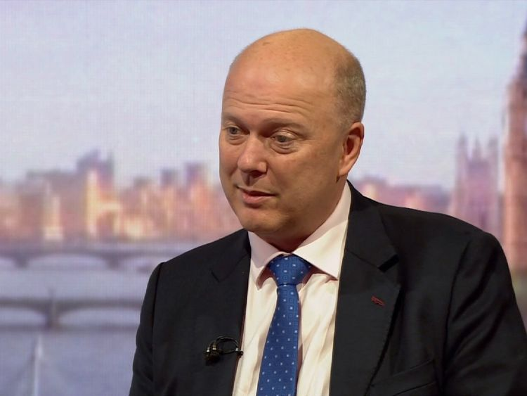 Conservative MP and Transport Secretary Chris Grayling on the BBC's Andrew Marr Show