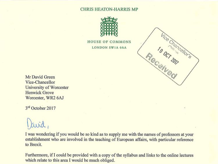 The letter Chris Heaton-Harris sent to Professor David Green