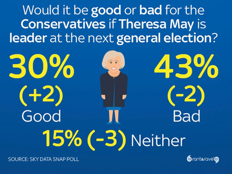 Public think May is weak leader - Sky Data poll