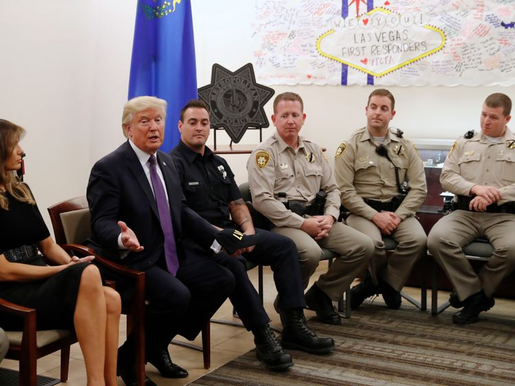 The President and First Lady meet first responders in Las Vegas