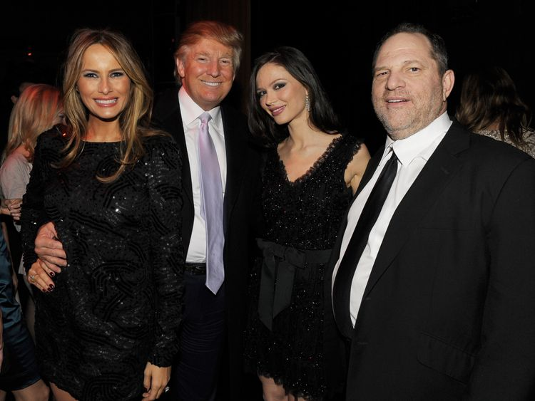 (L-R) Melania Trump, Donald Trump, Georgina Chapman and Harvey Weinstein