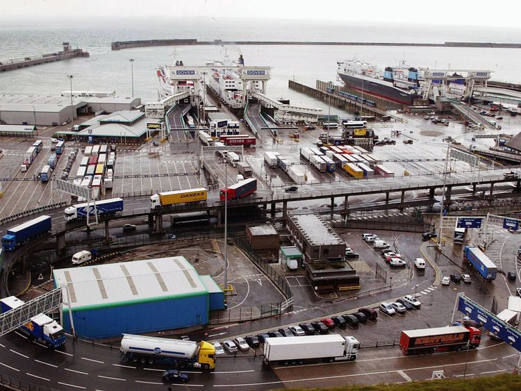 DOVER, ENGLAND - MAY 14: Container lorries from Europe leave the Port of Dover on May 14, 2003 in Dover, England. Her Majesty's customs announced today that security would be seriously upgraded to counter any terrorist attacks including the import of dirty bombs. (Photo by Hugo Philpott/Getty Images)