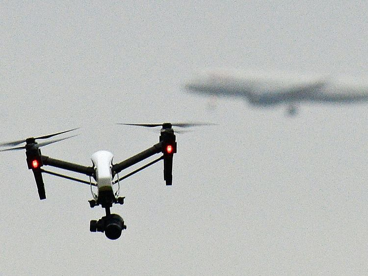 A drone flies near Heathrow. File pic