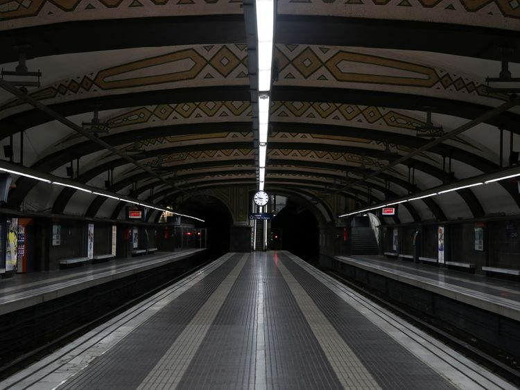 Empty metro station in Barcelona