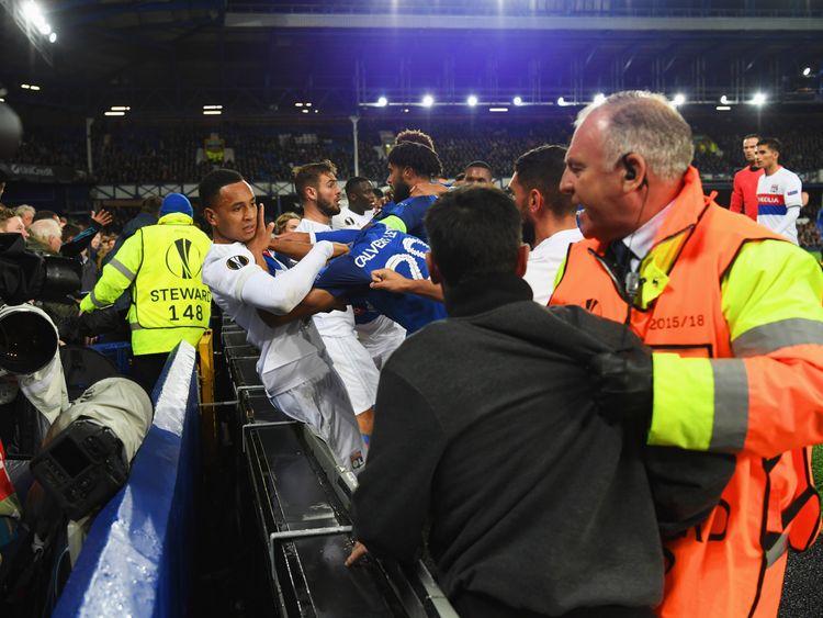Everton and Lyon players