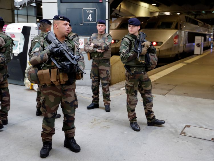French soldiers at a train station in Paris