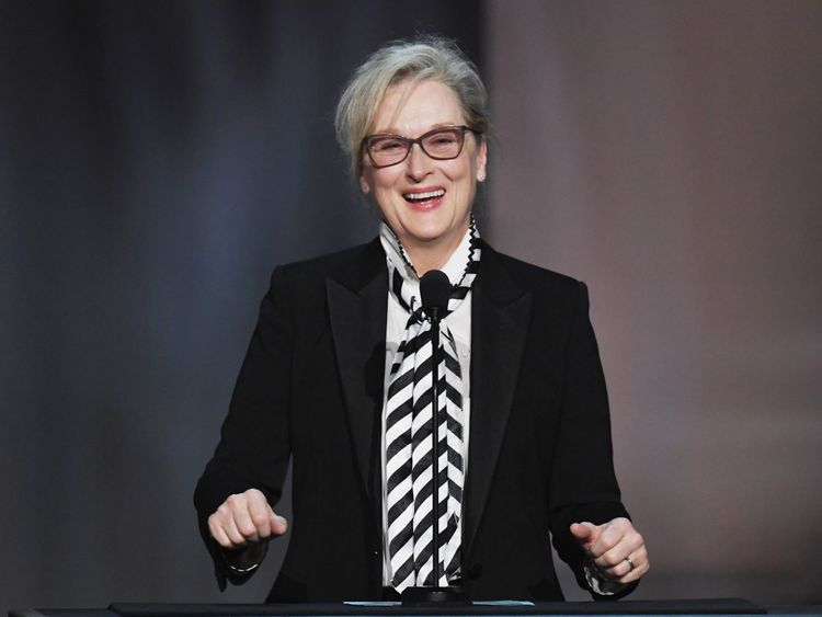 HOLLYWOOD, CA - JUNE 08: Actor Meryl Streep speaks onstage during American Film Institute's 45th Life Achievement Award Gala Tribute to Diane Keaton at Dolby Theatre on June 8, 2017 in Hollywood, California. 26658_007 (Photo by Kevin Winter/Getty Images)