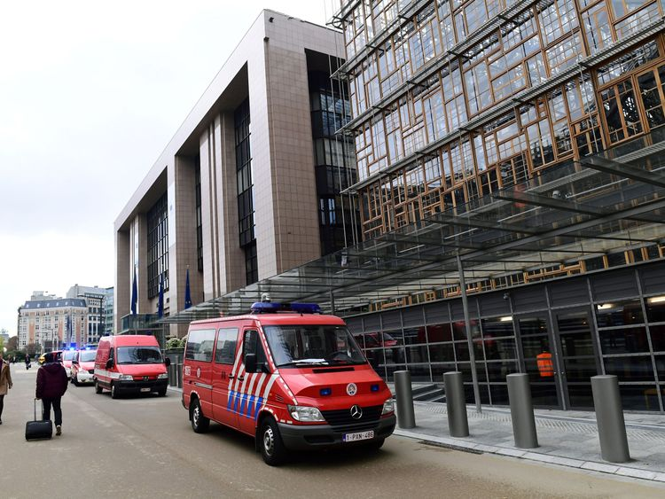 Belgian rescue personnel gather at The European Council in Brussels